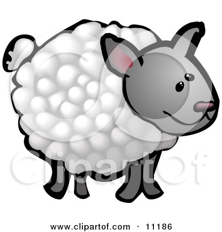 Cute Wooly Sheep on a Farm Clipart Illustration by AtStockIllustration