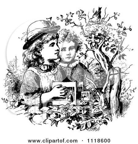 Clipart Of A Retro Vintage Black And White Boy And Girl Trying To Catch A Bird - Royalty Free Vector Illustration by Prawny Vintage
