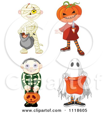 Cartoon Of Halloween Kids In Mummy Jack Skeleton And Ghost Costumes - Royalty Free Vector Clipart by Pushkin
