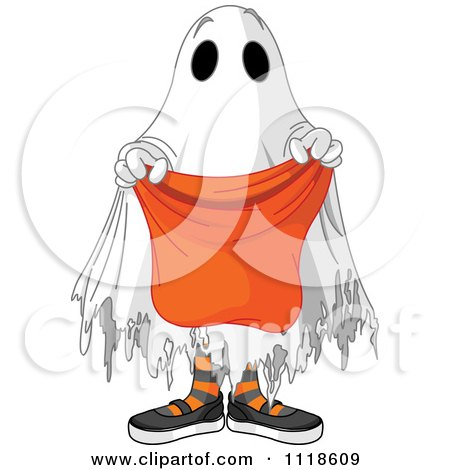 Cartoon Of A Trick Or Treating Halloween Kid In A Ghost Costume - Royalty Free Vector Clipart by Pushkin