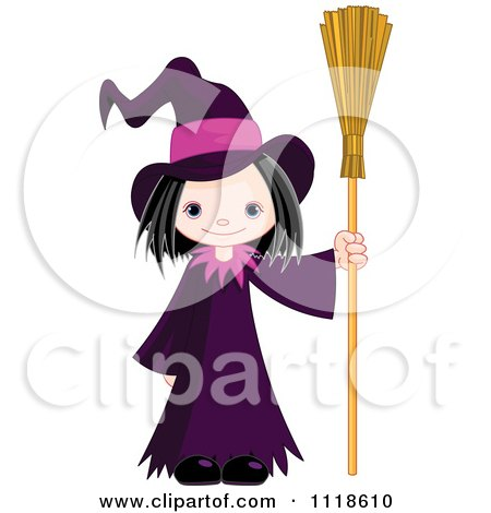 Cartoon Of A Trick Or Treating Halloween Kid In A Witch Costume - Royalty Free Vector Clipart by Pushkin