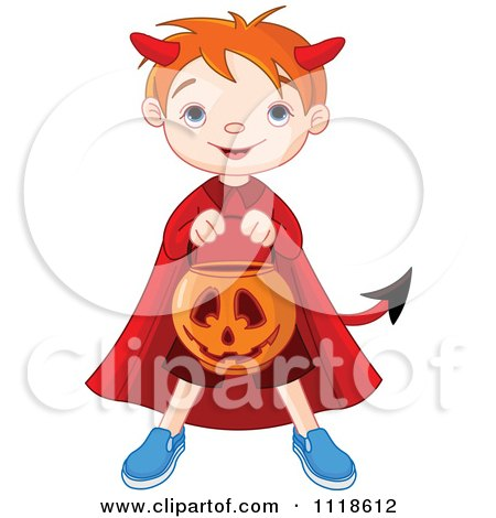 Cartoon Of A Trick Or Treating Halloween Kid In A Devil Costume - Royalty Free Vector Clipart by Pushkin