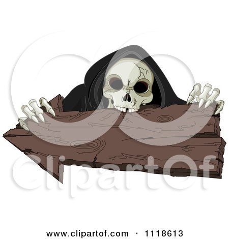 Cartoon Of A Halloween Skeleton Holding And Biting An Arrow Sign - Royalty Free Vector Clipart by Pushkin