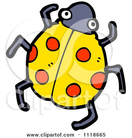 Cartoon Of A Yellow Ladybug Beetle 9 - Royalty Free Vector Clipart by lineartestpilot