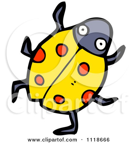Cartoon Of A Yellow Ladybug Beetle 10 - Royalty Free Vector Clipart by lineartestpilot