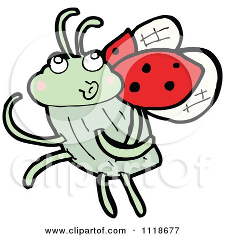 Cartoon Of A Red Ladybug Beetle 15 - Royalty Free Vector Clipart by lineartestpilot
