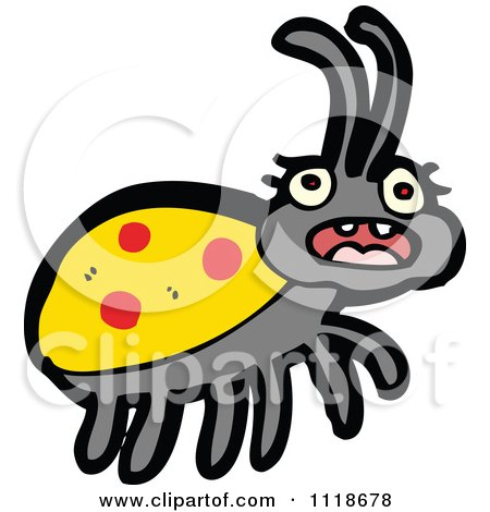 Cartoon Of A Yellow Ladybug Beetle 15 - Royalty Free Vector Clipart by lineartestpilot