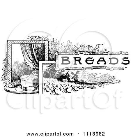 Clipart Of A Retro Vintage Black And White Breads Recipe Label