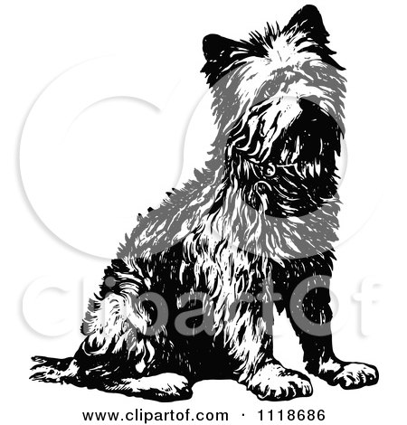Clipart Of A Retro Vintage Black And White Terrier Dog Sitting - Royalty Free Vector Illustration by Prawny Vintage