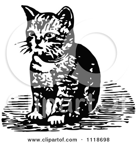 Clipart Of A Retro Vintage Black And White Kitten Sitting - Royalty Free Vector Illustration by Prawny Vintage
