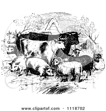 Clipart Of Retro Vintage Black And White Livestock Farm Animals
