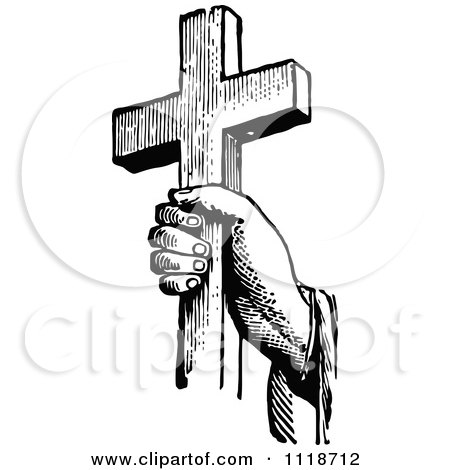 Clipart Of A Retro Vintage Black And White Hand Holding A Cross - Royalty Free Vector Illustration by Prawny Vintage