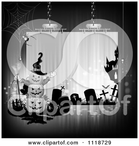 Clipart Of A Suspended Halloween Sign With Stacked Jackolanterns A Cemetery And Haunted House - Royalty Free Vector Illustration by merlinul