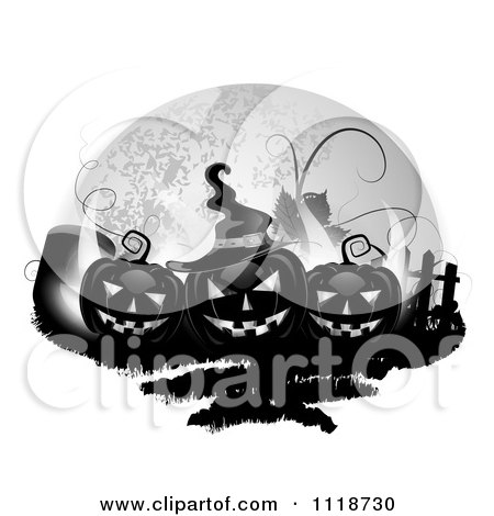 Clipart Of Black Halloween Jackolanterns With A Tombstone And Fence Against A Full Moon - Royalty Free Vector Illustration by merlinul