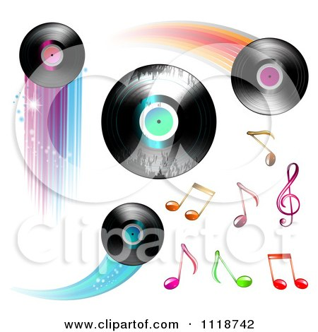 Flying Vinyl Records And Colorful Music Notes Posters Art