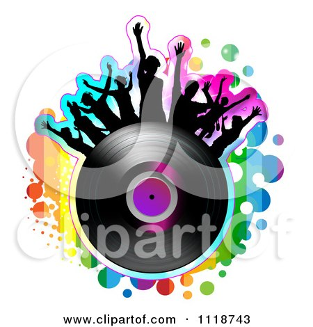 Clipart Of Silhouetted Dancers On A Vinyl Record With Rainbow Grunge - Royalty Free Vector Illustration by merlinul