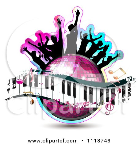 Clipart Of Silhouetted Dancers On A Disco Ball With A Keyboard And Music Notes - Royalty Free Vector Illustration by merlinul