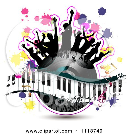 Clipart Of Silhouetted Dancers On A Vinyl Record With A Keyboard And Music Notes 2 - Royalty Free Vector Illustration by merlinul