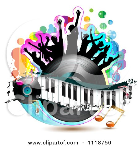 Clipart Of Silhouetted Dancers On A Vinyl Record With A Keyboard And Music Notes 1 - Royalty Free Vector Illustration by merlinul