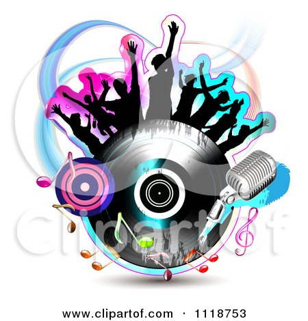 Clipart Of Silhouetted Dancers On A Vinyl Record With Music Notes 4 - Royalty Free Vector Illustration by merlinul