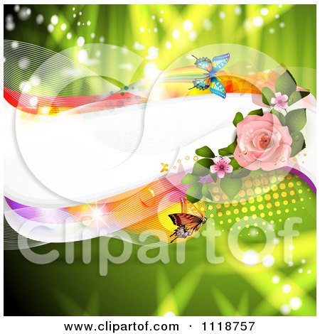 Clipart Of A Wave With Pink Blossoms And A Rose And Butterflies On Green - Royalty Free Vector Illustration by merlinul