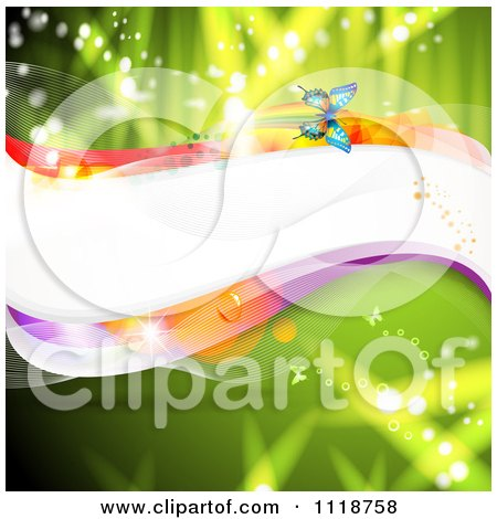 Clipart Of A Wave And Butterflies On Green - Royalty Free Vector Illustration by merlinul