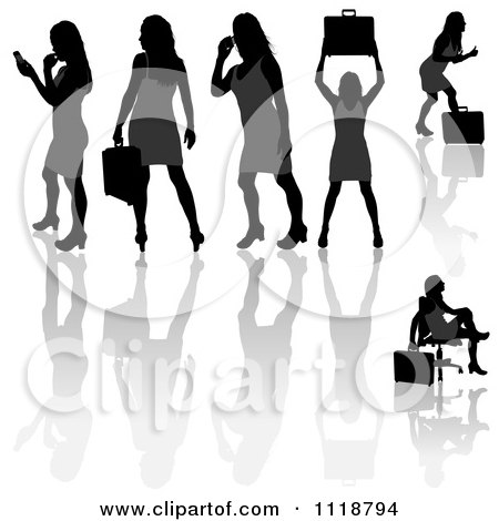 Clipart Of Silhouetted Black Businesswomen Posing With Briefcases 7 - Royalty Free Vector Illustration by dero