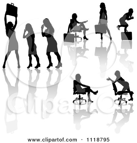 Clipart Of Silhouetted Black Businesswomen Posing With Briefcases 8 - Royalty Free Vector Illustration by dero