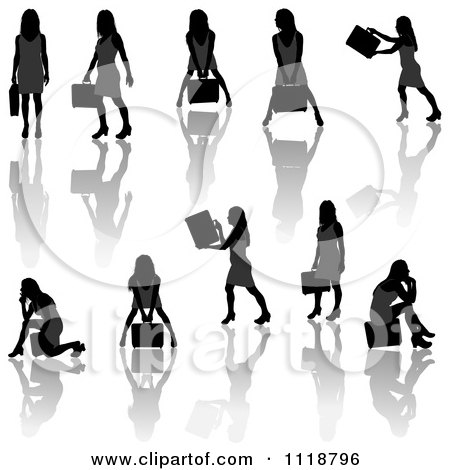 Clipart Of Silhouetted Black Businesswomen Posing With Briefcases 5 - Royalty Free Vector Illustration by dero