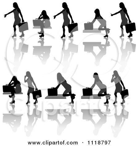 Clipart Of Silhouetted Black Businesswomen Posing With Briefcases 6 - Royalty Free Vector Illustration by dero