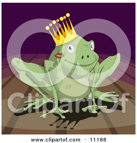 Cute Frog Prince With a Lipstick Kiss on His Cheek, Wearing a Crown Clipart Illustration by AtStockIllustration