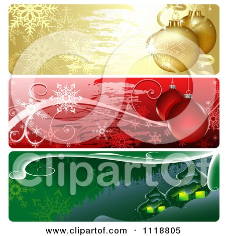 Clipart Of Colorful Christmas Website Banners With Baubles And Houses - Royalty Free Vector Illustration by dero