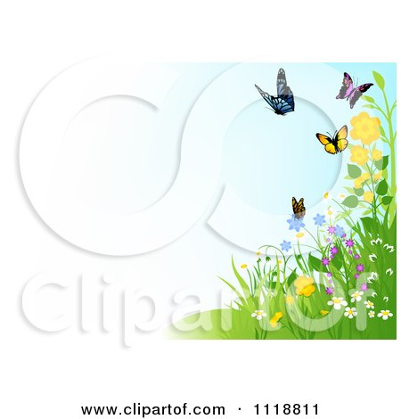 Clipart Of A Background Of Butterflies And Wildflowers With Copyspace - Royalty Free Vector Illustration by dero