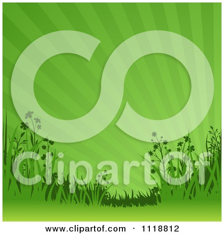 Clipart Of A Background Of Wildflowers And Sun Rays In Green - Royalty Free Vector Illustration by dero