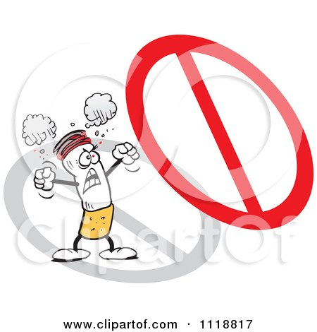 Cartoon Of A Furious Cigarette Protesting Under A Prohibited Symbol - Royalty Free Vector Clipart by Johnny Sajem