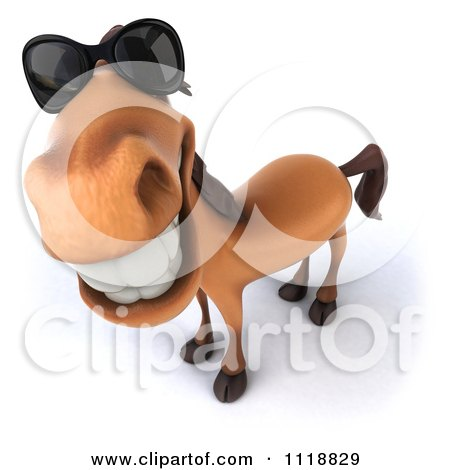 Clipart Of A 3d Happy Horse Wearing Sunglasses And Looking Up - Royalty Free CGI Illustration by Julos