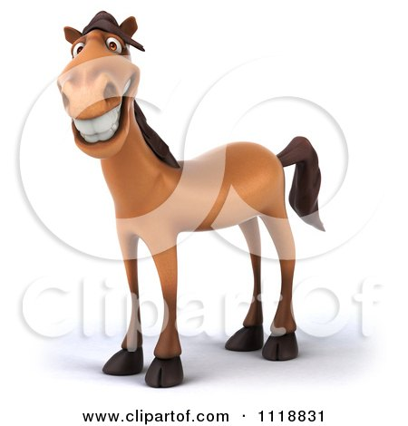 Clipart Of A 3d Happy Horse - Royalty Free CGI Illustration by Julos