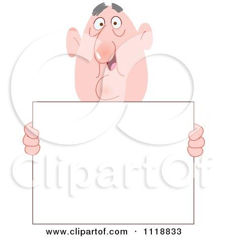 Cartoon Of A Bald Man Holding A Sign - Royalty Free Vector Clipart by yayayoyo