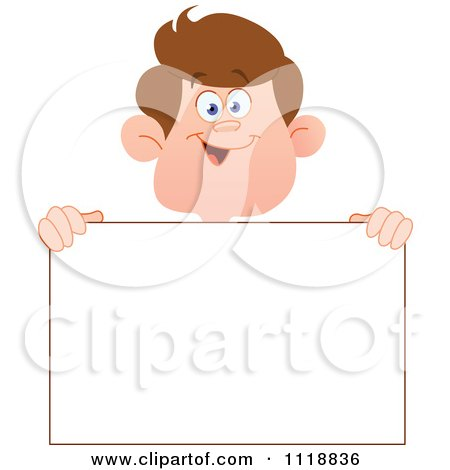 Cartoon Of A Happy Boy Holding A Sign - Royalty Free Vector Clipart by yayayoyo