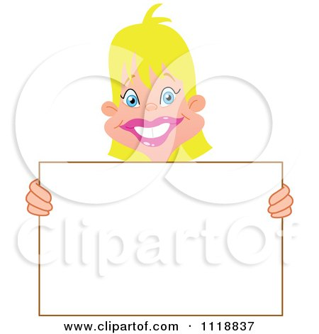 Cartoon Of A Happy Blond Woman Holding A Sign - Royalty Free Vector Clipart by yayayoyo