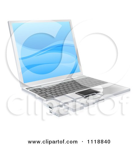 Clipart Of A 3d Laptop With Tile Pieces - Royalty Free Vector Illustration by AtStockIllustration