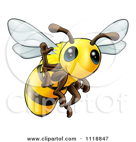 Cartoon Of A Cute Happy Waving Bee - Royalty Free Vector Clipart by AtStockIllustration