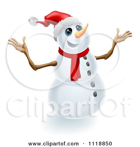 Clipart Of A Jolly Christmas Snowman Holding Up His Arms - Royalty Free Vector Illustration by AtStockIllustration