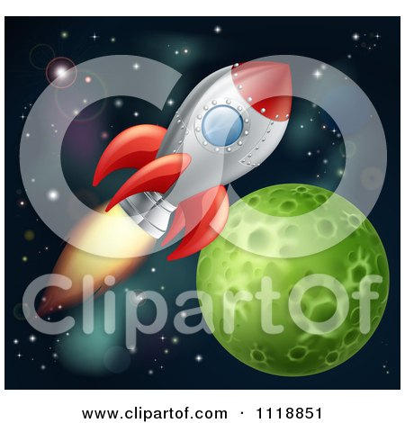 Clipart Of A Space Shuttle Rocket Flying In Outer Space Near A Green Planet - Royalty Free Vector Illustration by AtStockIllustration
