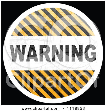 Clipart Of A Round WARNING Hazard Stripes Icon On Black - Royalty Free Vector Illustration by Andrei Marincas