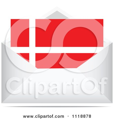 Clipart Of A Denmark Letter In An Envelope - Royalty Free Vector Illustration by Andrei Marincas