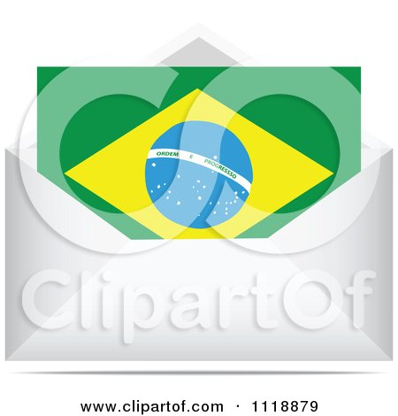 Clipart Of A Brazilian Letter In An Envelope - Royalty Free Vector Illustration by Andrei Marincas