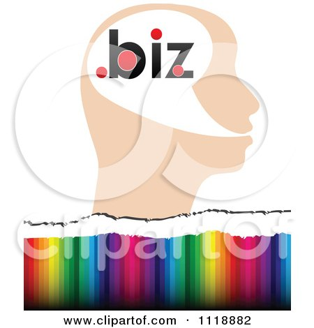 Clipart Of A Profiled Head With Dot Biz Over Colors - Royalty Free Vector Illustration by Andrei Marincas