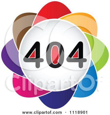 Clipart Of A Colorful 404 Error Icon - Royalty Free Vector Illustration by Andrei Marincas