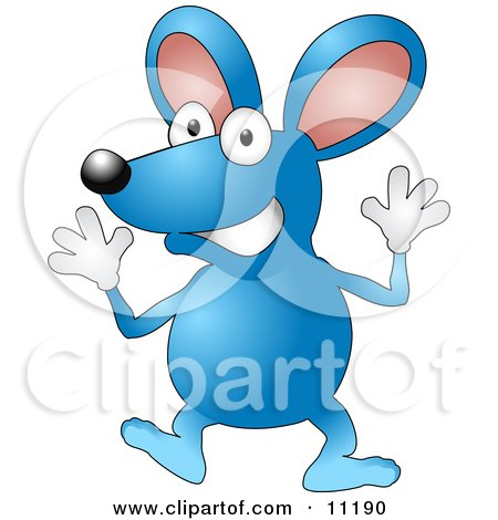 Happy Blue Mouse Wearing Gloves and Doing Jazz Hands Clipart Illustration by AtStockIllustration